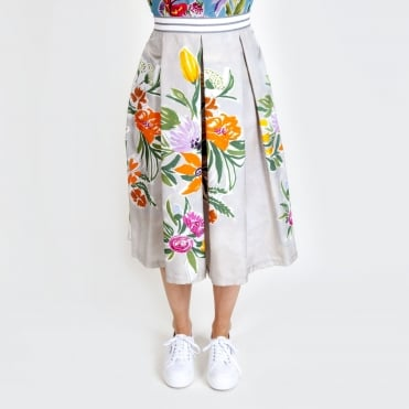 Cotton and Silk Floral Skirt in Sand