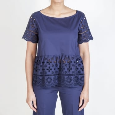 Cotton Broderie Anglaise Trim Top in Navy