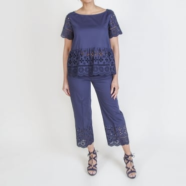Cotton Broderie Anglaise Trim Trouser in Navy