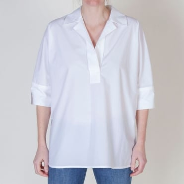 Crisp Cotton Easy Shirt in White