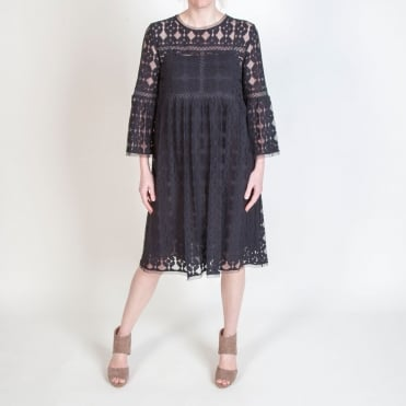 Lace Bell Sleeve Dress in Black