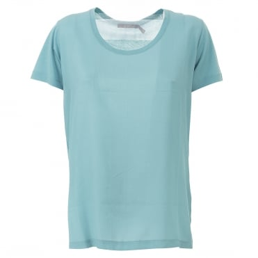 Simple Silk Front Jersey T Shirt in Turquoise