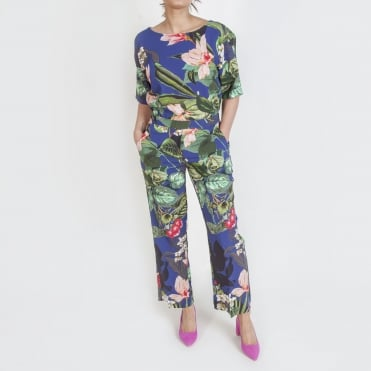Two Piece Jungle Print Trouser Suit in Blue