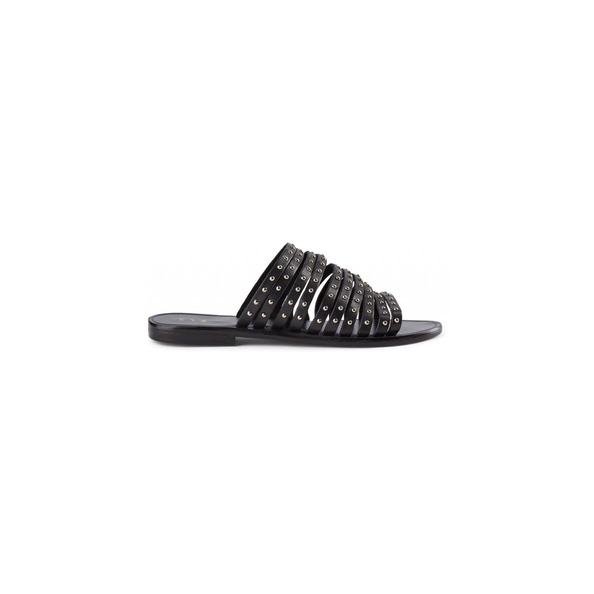 Jenna Stud Sandals in Black