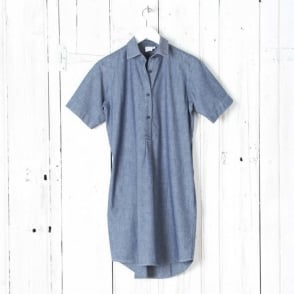 Short Sleeve Washed Shirtdress