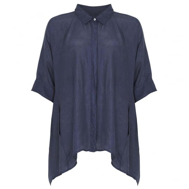 HOPE FASHION Silk Cocoon Shirt with 3/4 Sleeve