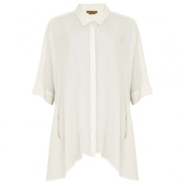 Silk Cocoon Shirt with 3/4 Sleeve