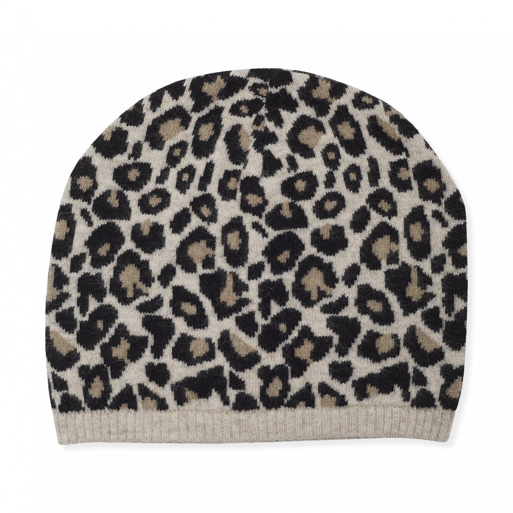 Cashmere Leopard Beanie Hat in Black Camel  bd408e4e946