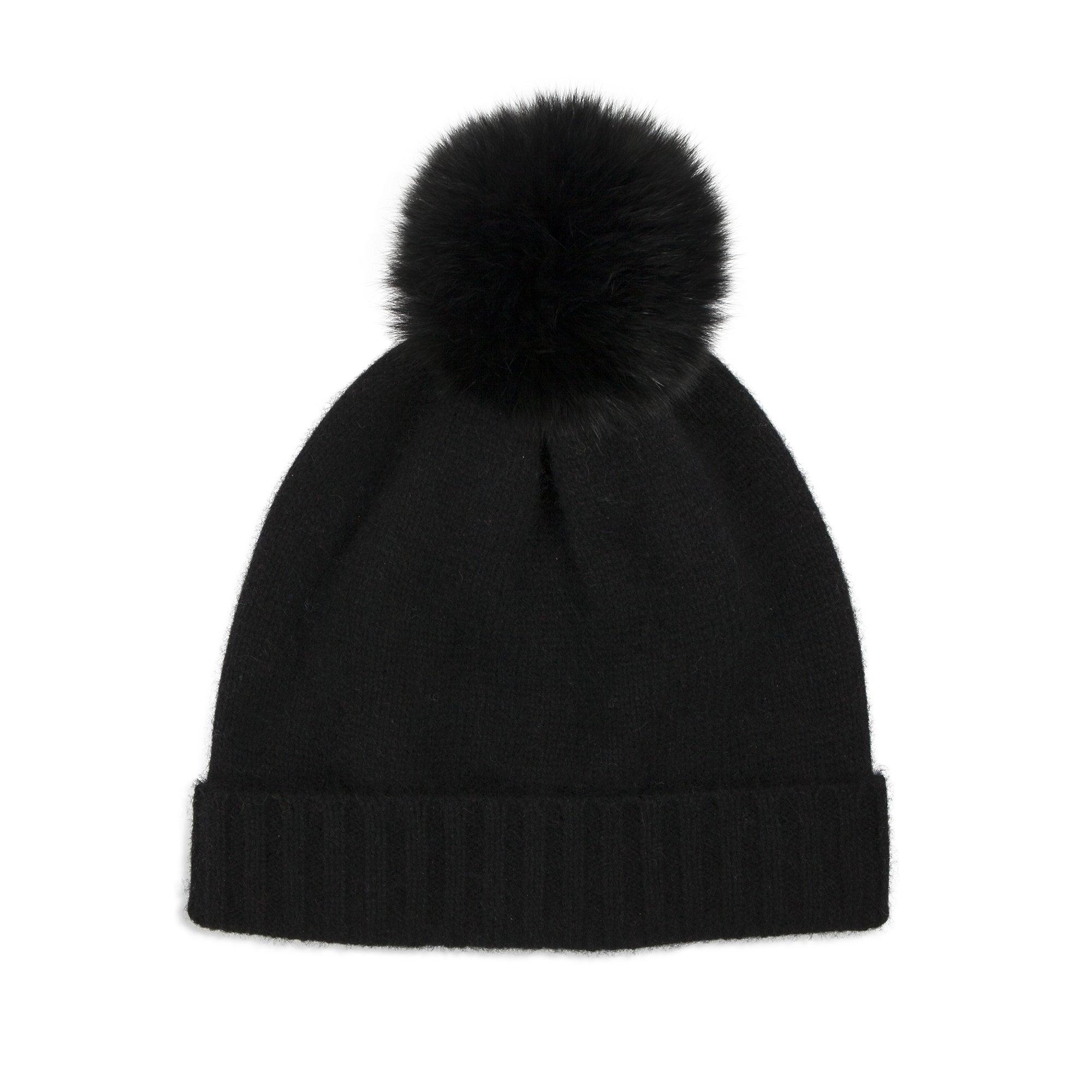 046496a1c Cashmere Plain Hat with Fur Bobble in Black