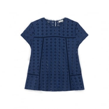 Hinode Eyelet Embroidery Short Sleeves Shirt
