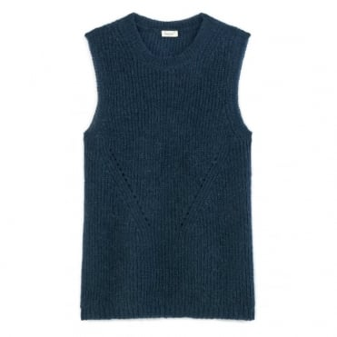 Ifuna Mohair full cardigan stitch sweater in Indigo