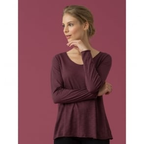 Lino Slub Cotton Modal LS T-Shirt in Grape