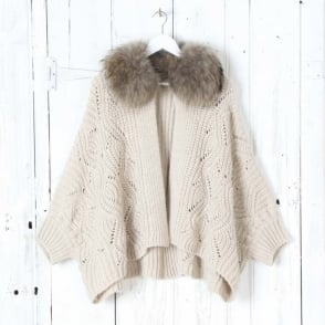 Loumi Fur Collar Cardigan in Cappuccino