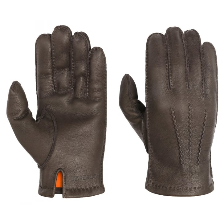 STETSON Deer Nappa Gloves in Chocolate Brown