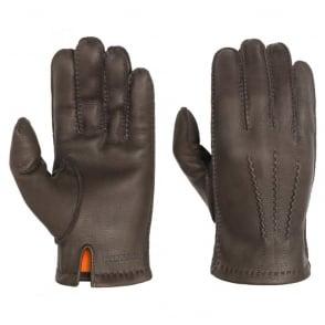 Deer Nappa Gloves in Chocolate Brown