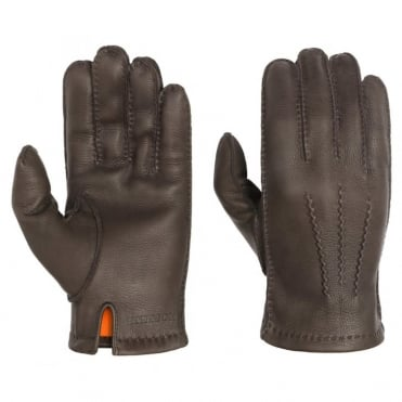 Deer Nappa Gloves in Chocolate Brown