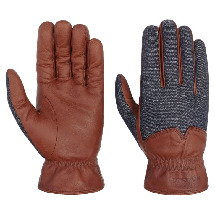 STETSON Goat Gloves in Denim/Nappa