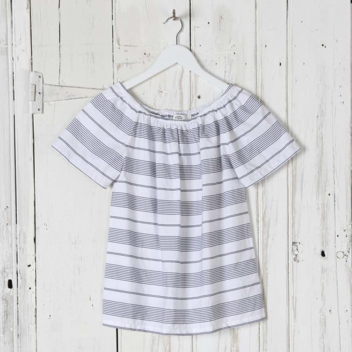 0039 Italy Stripe Cotton Off Shoulder Top