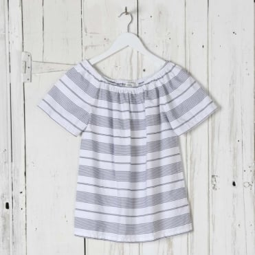 Stripe Cotton Off Shoulder Top