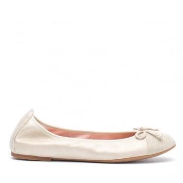 Suede Ballet Pump w. Sparkle Toe