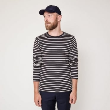 Beagle Striped Long Sleeve Top in Navy/White