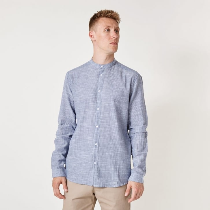 SUIT Cotton Needle Stripe Shirt in Blue