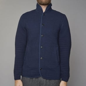 Hannibal Button Up Soft Jacket in Blue