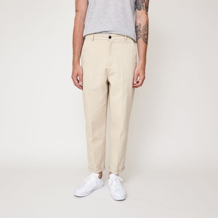 SUIT Toby Cotton Drill Flat Front Crop Trouser in Sand