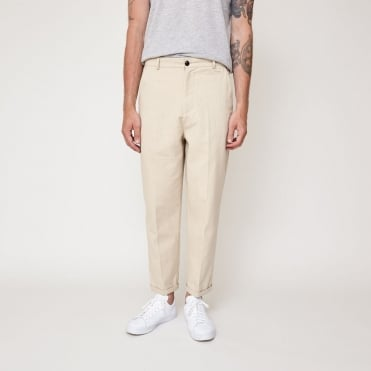 Toby Cotton Drill Flat Front Crop Trouser in Sand