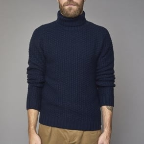 Turtle Neck Knit Jumper in Navy