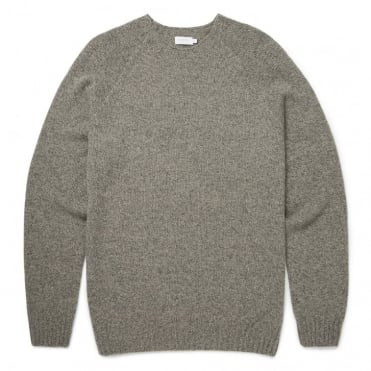Lambswool Crew Neck Jumper in Camel Mouline