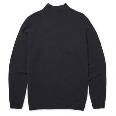 Lambswool Funnel Neck Jumper in Dark Navy