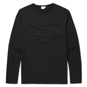 Long Sleeve Crew Neck T-Shirt in Black