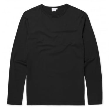 Long Sleeve Crew Neck T-Shirt in Black