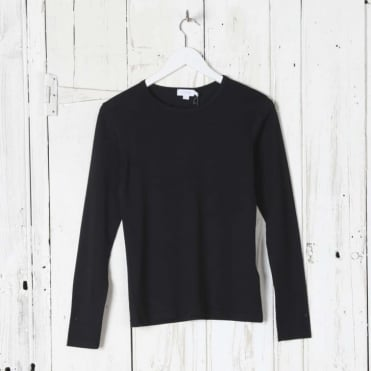 Long Sleeve Crew Neck Top in Black