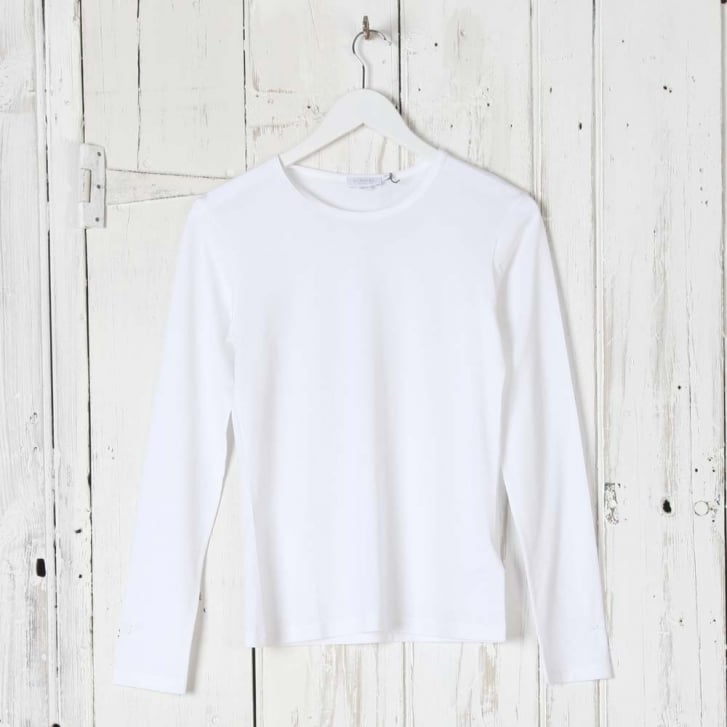 SUNSPEL Long Sleeve Crew Neck Top in White