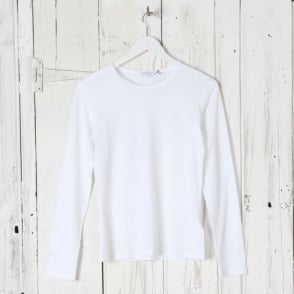 Long Sleeve Crew Neck Top in White