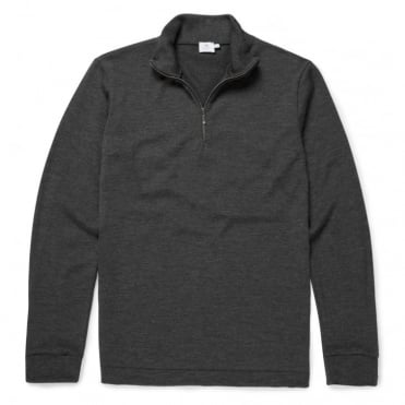Long Sleeve Zip Neck Jumper in Charcoal Melange