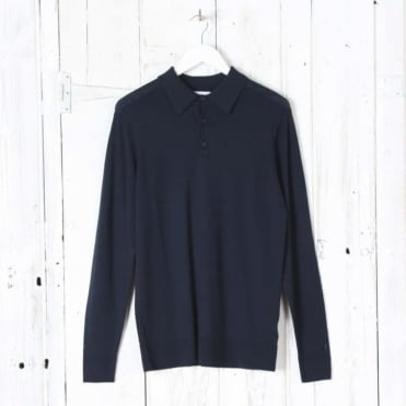Merino Polo Neck Jumper in Light Navy