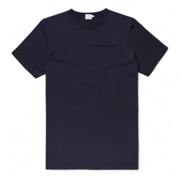 Short Sleeve Crew Neck Top in Navy