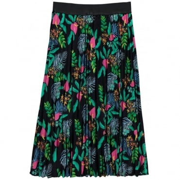Tropical Print Elasticated Waist Skirt