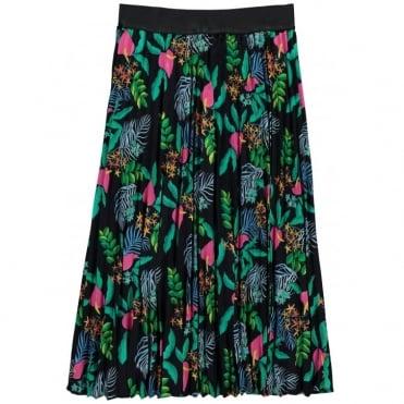 Tropical Print Elasticated Waist Skirt