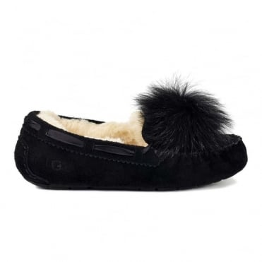 Dakota Pom Pom Slipper in Black