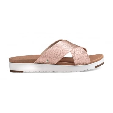 Kari Metallic Slider Sandal in Rose Gold