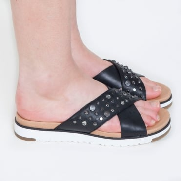 Kari Studded Bling Slider Sandal in Black