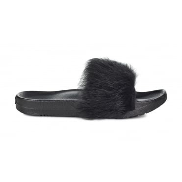 Royale Slider Fluffy Sandal in Black