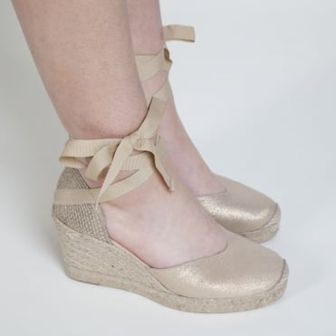 Cleo Ribbon Espadrille in Gold