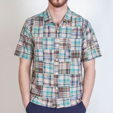 Check Patchwork Road Shirt in Olive