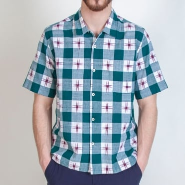 Ikat Check Road Shirt in Green
