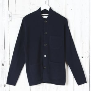 Merino Knit Work Jacket in Navy